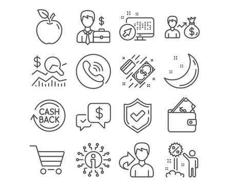Set of Cashback refund, Check investment and Market sale icons. Sallary, Businessman case and Discount signs. Wallet, Payment received and Payment symbols. Refund commission, Business report. Vector Illustration