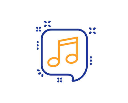 Musical note in speech bubble line icon. Music sign. Colorful outline concept. Blue and orange thin line color icon. Musical note Vector