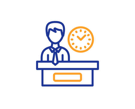 Presentation time line icon. Watch sign. Colorful outline concept. Blue and orange thin line color icon. Presentation time Vector
