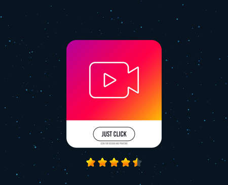 Video Camera line icon. Movie or Cinema sign. Multimedia symbol. Web or internet line icon design. Rating stars. Just click button. Video camera vector