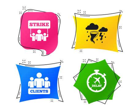 Streik-Symbol. Sturm schlechtes Wetter und Gruppen von Personen Zeichen. Symbol für Flugverspätung. Geometrische bunte Tags. Banner mit flachen Symbolen. Trendiges Design. Vektor Vektorgrafik