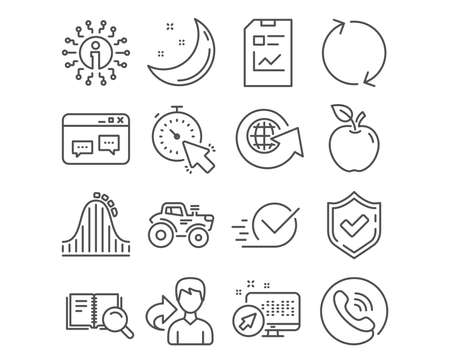 Set of Refresh, Checkbox and Report document icons. Timer, Search book and Roller coaster signs. Browser window, World globe and Tractor symbols. Rotation, Approved, Statistics file. Report vector Illustration