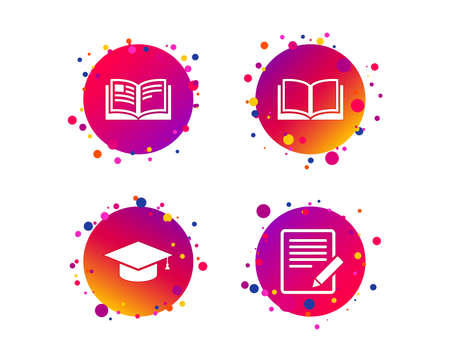 Pencil with document and open book icons. Graduation cap symbol. Higher education learn signs. Gradient circle buttons with icons. Random dots design. Vector