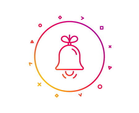 Christmas bell line icon. New year tree decoration sign. Gradient pattern line button. Bell icon design. Geometric shapes. Vector 일러스트