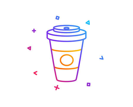 Takeaway Coffee or Tea line icon. Hot drink sign. Beverage symbol. Gradient line button. Takeaway Coffee icon design. Colorful geometric shapes. Vector