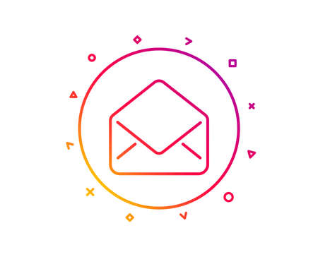 Mail line icon. Message correspondence sign. E-mail symbol. Gradient pattern line button. Mail icon design. Geometric shapes. Vector Illustration
