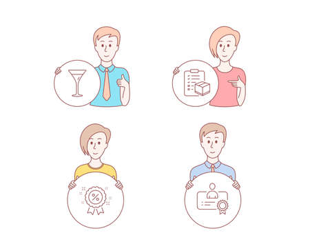 People set of Discount, Martini glass and Parcel checklist icons. Certificate sign. Sale shopping, Wine, Logistics check. Best employee, discount. People vector