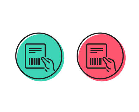 Parcel invoice line icon. Delivery document sign. Package shipping symbol. Positive and negative circle buttons concept. Good or bad symbols. Parcel invoice Vector