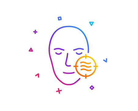 Problem face skin line icon. Need facial care sign. Target symbol. Gradient line button. Problem skin icon design. Colorful geometric shapes. Vector Illustration