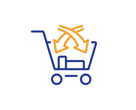 Icono de línea de venta cruzada. Signo de mercado minorista. Concepto de esquema colorido. Icono de color de línea fina azul y naranja. Vector de venta cruzada