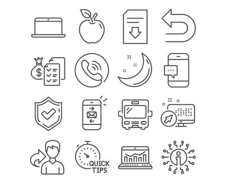Set of Quick tips, Bus and Web analytics icons. Mail, Laptop and Accounting wealth signs. Undo, Smartphone message and Download file. Helpful tricks, Tourism transport, Statistics. Analytics vector