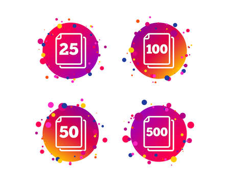 In pack sheets icons. Quantity per package symbols. 25, 50, 100 and 500 paper units in the pack signs. Gradient circle buttons with icons. Random dots design. Vector Illustration