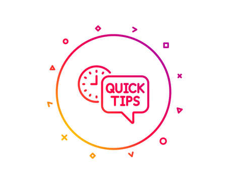Quick tips line icon. Helpful tricks sign. Tutorials symbol. Gradient pattern line button. Quick tips icon design. Geometric shapes. Vector