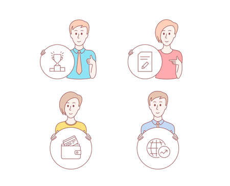 People set of Edit document, Debit card and Winner podium icons. World statistics sign. Page with pencil, Wallet with credit card, Competition results. Global report. People results vector Illustration