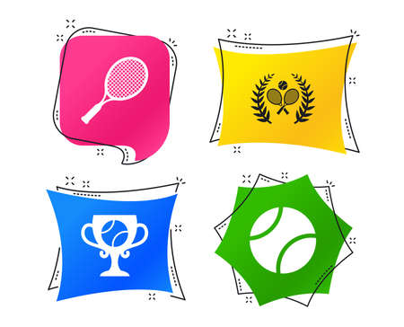 Tennis ball and rackets icons. Winner cup sign. Sport laurel wreath winner award symbol. Geometric colorful tags. Banners with flat icons. Trendy design. Vector