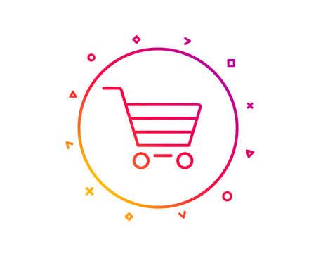 Shopping cart line icon. Online buying sign. Supermarket basket symbol. Gradient pattern line button. Market sale icon design. Geometric shapes. Vector