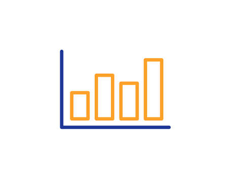 Histogram Column chart line icon. Financial graph sign. Stock exchange symbol. Business investment. Colorful outline concept. Blue and orange thin line color icon. Report diagram Vector