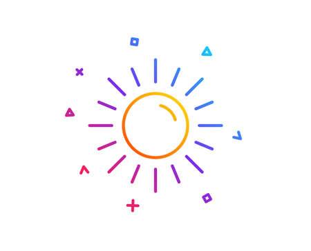Sun line icon. Hot weather sign. Summer symbol. Gradient line button. Sun icon design. Colorful geometric shapes. Vector