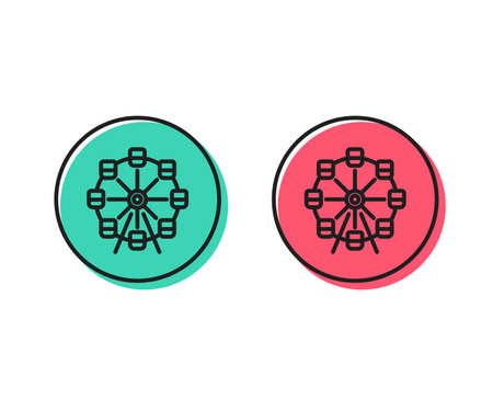Ferris wheel line icon. Amusement park sign. Carousels symbol. Positive and negative circle buttons concept. Good or bad symbols. Ferris wheel Vector 일러스트