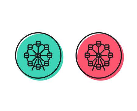 Ferris wheel line icon. Amusement park sign. Carousels symbol. Positive and negative circle buttons concept. Good or bad symbols. Ferris wheel Vector Illustration