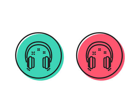 Headphones line icon. Music listen sign. Musical earphones symbol. Positive and negative circle buttons concept. Good or bad symbols. Headphones Vector 일러스트