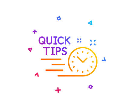 Quick tips line icon. Helpful tricks sign. Tutorials symbol. Gradient line button. Quick tips icon design. Colorful geometric shapes. Vector