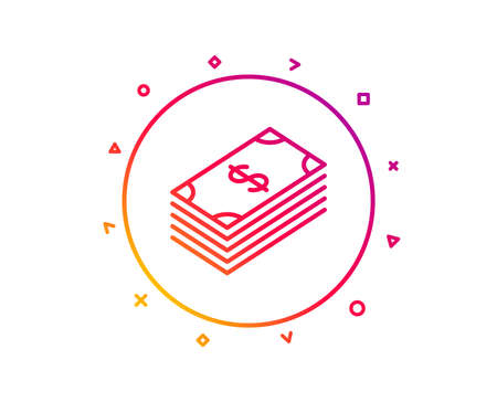 Cash money line icon. Banking currency sign. Dollar or USD symbol. Gradient pattern line button. Dollar icon design. Geometric shapes. Vector