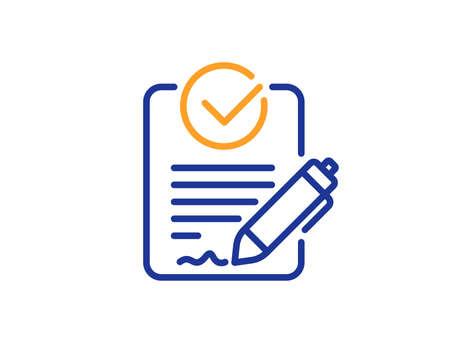 Icône de ligne Rfp. Demande de signe de proposition. Signaler le symbole du document. Concept de contour coloré. Icône de couleur de fine ligne bleue et orange. Vecteur Rfp