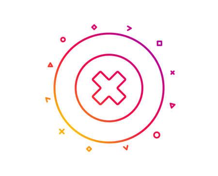 Delete line icon. Remove sign. Cancel or Close symbol. Gradient pattern line button. Close button icon design. Geometric shapes. Vector Illustration