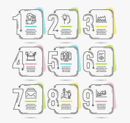 Infographic timeline. Set of Idea, Fireworks and Mail icons. Creativity concept, Creative design and Trade chart signs. Timeline vector