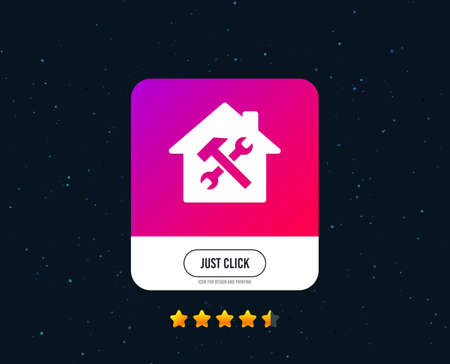 Service house. Repair tool sign icon. Service symbol. Hammer with wrench. Web or internet icon design. Rating stars. Just click button. Vector Illustration