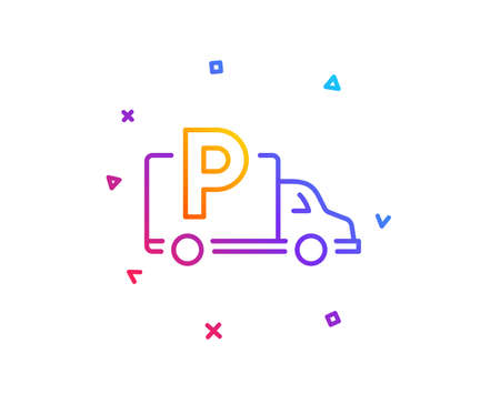 Truck parking line icon. Car park sign. Transport place symbol. Gradient line button. Truck parking icon design. Colorful geometric shapes. Vector Иллюстрация