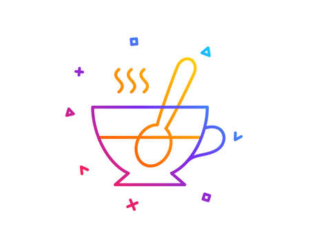 Cup with spoon line icon. Fresh beverage sign. Latte or Coffee symbol. Gradient line button. Tea cup icon design. Colorful geometric shapes. Vector Çizim