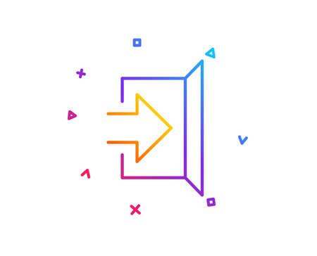 Exit line icon. Open door sign. Entrance symbol with arrow. Gradient line button. Exit icon design. Colorful geometric shapes. Vector