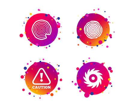 Wood and saw circular wheel icons. Attention caution symbol. Sawmill or woodworking factory signs. Gradient circle buttons with icons. Random dots design. Vector