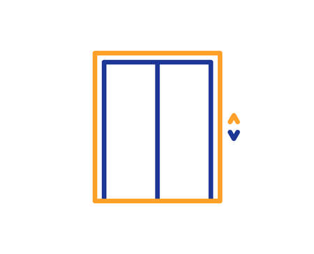 Lift line icon. Elevator sign. Transportation between floors symbol. Colorful outline concept. Blue and orange thin line color icon. Lift Vector Foto de archivo - 112886260