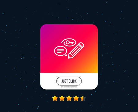 Keywords line icon. Pencil with key symbol. Marketing strategy sign. Web or internet line icon design. Rating stars. Just click button. Vector