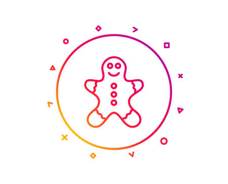 Gingerbread man line icon. Ginger cookie sign. Sweet holiday food symbol. Gradient pattern line button. Gingerbread man icon design. Geometric shapes. Vector Standard-Bild - 112886267