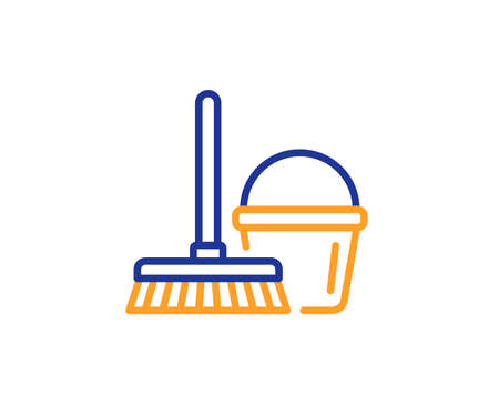 Cleaning bucket with mop line icon. Washing Housekeeping equipment sign. Colorful outline concept. Blue and orange thin line color icon. Bucket with mop Vector