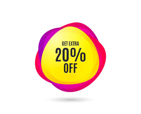 Get Extra 20% off Sale. Discount offer price sign. Special offer symbol. Save 20 percentages. Gradient sale tag. Abstract shopping banner. Template for discount design. Vector