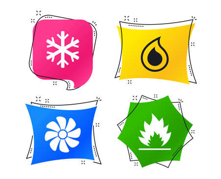 HVAC icons. Heating, ventilating and air conditioning symbols. Water supply. Climate control technology signs. Geometric colorful tags. Banners with flat icons. Air conditioning vector Illustration