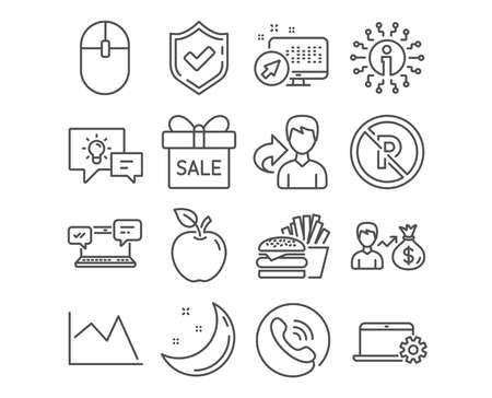 Set of No parking, Computer mouse and Internet chat icons. Burger, Idea lamp and Sallary signs. Sale offer, Notebook service and Line chart symbols. Car parking, Pc equipment. Vector