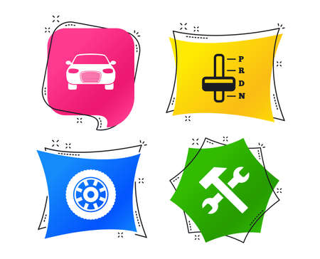 Transport icons. Car tachometer and automatic transmission symbols. Repair service tool with wheel sign. Geometric colorful tags. Banners with flat icons. Trendy design. Vector