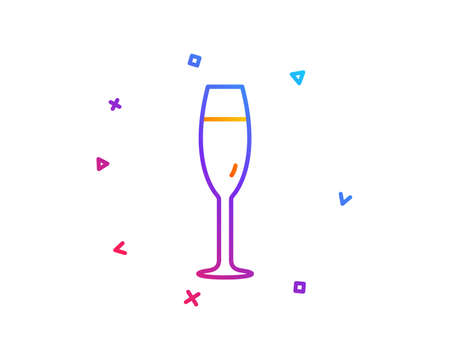 Champagne glass line icon. Wine glass sign. Gradient line button. Champagne glass icon design. Colorful geometric shapes. Vector