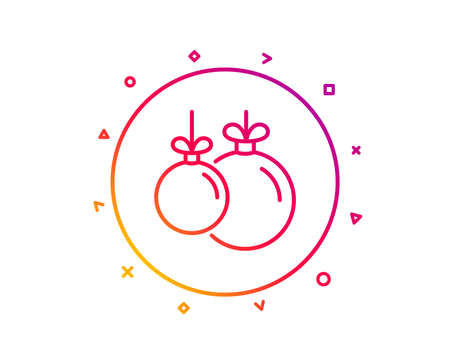 Christmas ball line icon. New year tree decoration sign. Gradient pattern line button. Christmas ball icon design. Geometric shapes. Vector 일러스트