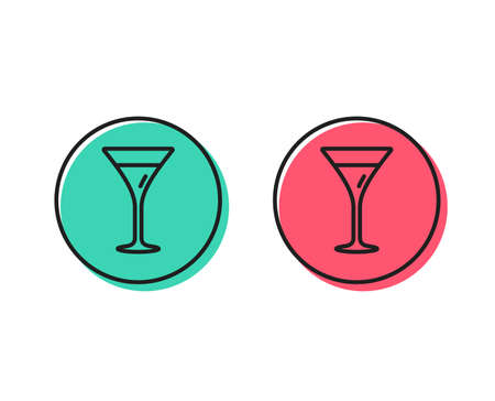 Martini glass line icon. Wine glass sign. Positive and negative circle buttons concept. Good or bad symbols. Martini glass Vector