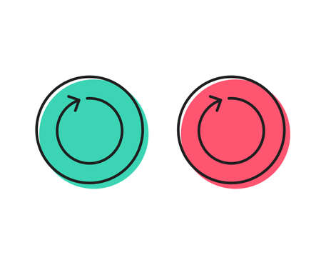 Loop arrow line icon. Refresh Arrowhead symbol. Navigation pointer sign. Positive and negative circle buttons concept. Good or bad symbols. Loop Vector