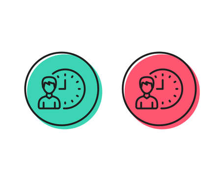 Business project deadline line icon. Working hours or Time management sign. Positive and negative circle buttons concept. Good or bad symbols. Working hours Vector