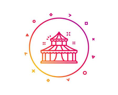 Circus line icon. Amusement park sign. Gradient pattern line button. Circus icon design. Geometric shapes. Vector