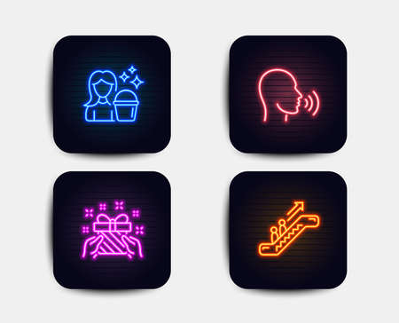 Neon set of Human sing, Gift and Cleaning icons. Escalator sign. Talk, Present, Maid service. Elevator. Neon icons. Glowing light cleaning banners. Vector